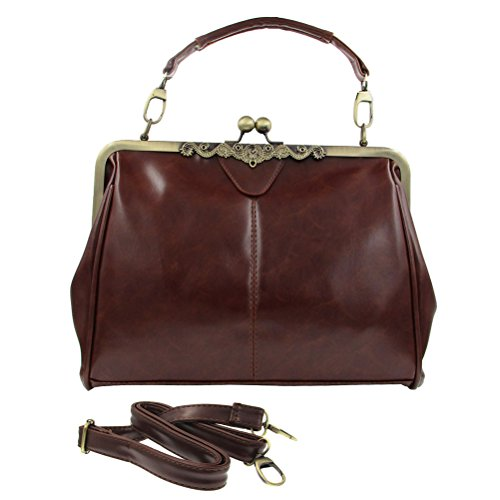 Wholesale Purses (Donalworld Women Retro Hollow out Leather Shoulder Handbag Coffee)