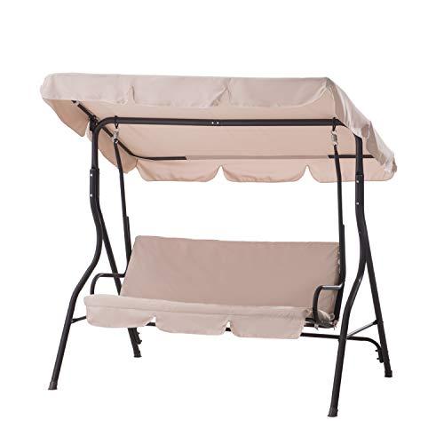 Sunjoy 110205006-B Clio Porch Swing Chair for Patio, Beige