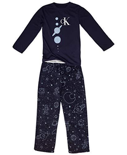 Calvin Klein Big Boys' 2 Piece Sleepwear Top and Bottom Pajama Set Pj, Long Sleeve - Black, CK Galaxy Print, Large-10/12