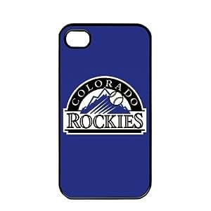 MLB Major League Baseball Colorado Rockies Apple iPhone 4 / 4s TPU Soft Black or White case (Black)