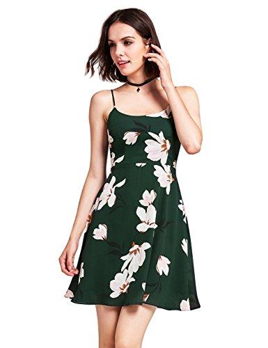 A Vert Manche Mousseline Taille ligne À Femme En Bretelles Robe Soie Alisapan Haute Floral De As05913 Sans Courte W1q7U1T