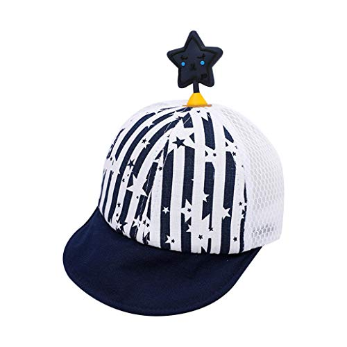 (XIAO-WU Baby Kids Summer Breathable Mesh Striped Baseball Cap Curved Wide Brim Five-Pointed Star Antenna Adjustable Snapback Hat 6M-3T - 2#Navy)