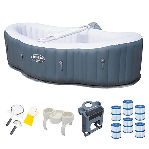 Bestway 2 Person Inflatable Hot Tub + Music Center + 6 Filters + Cleaning Set
