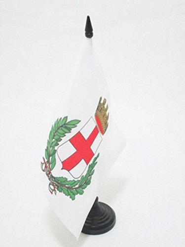 (AZ FLAG City of Milan Coat of arms Table Flag 5'' x 8'' - Milano Desk Flag 21 x 14 cm - Black Plastic Stick and Base )