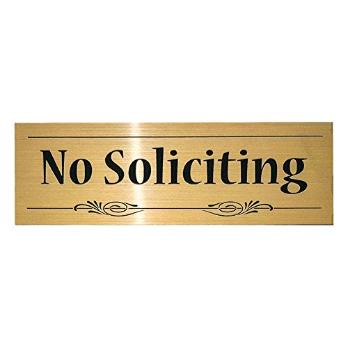 Decorative No Soliciting Sign (Brushed Gold) - Small
