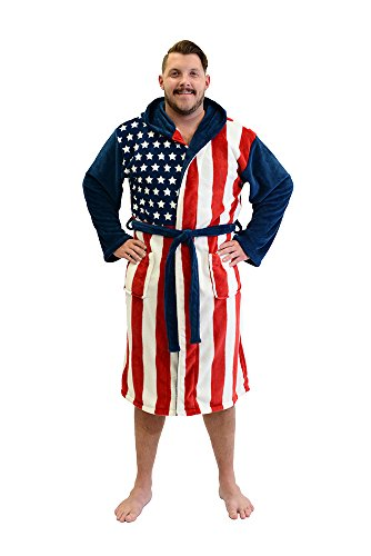 [Patriot American Flag Adult Fleece Bathrobe USA Costume Robe] (Colonial America Costumes Revolution)