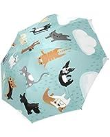 Funny Cute Raining Cats & Dogs Compact Umbrella Folding Travel Rain/Sun Umbrella Anti-uv, Windproof Rainproof Umbrella