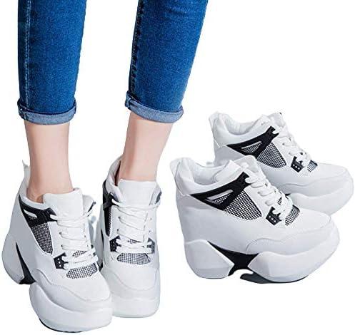 Printemps et Automne Nouvelles Chaussures Epais-Fond Augmenté Femme Chaussures de Sport 12 cm Rose Chaussures Casual Muffins, Blanc, 39