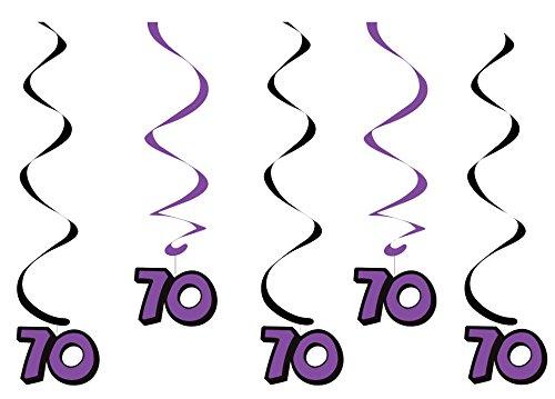 Creative Converting 5-Count Dizzy Dangler Hanging 70th Birthday Streamers, Black/Purple