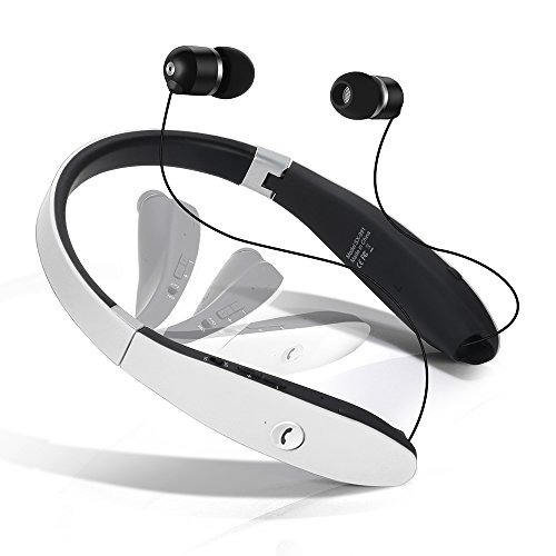 Dostyle Bluetooth Headset, Wireless Bluetooth Stereo Headphones Headsets Neckband Foldable Sweatproof with Retractable Earbuds with Microphone (White)