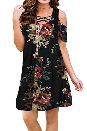 BLUETIME Women Cold Shoulder Criss Cross Neckline Sexy Summer Floral Printed Casual Swing T-Shirt Dresses (L, Floral10)