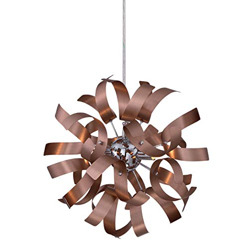 Copper And Crystal Pendant Light in US - 9