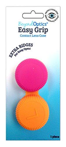 EASY GRIP Arthritic large Ridges Artritis Contact Lens Case Easy to Open Orange Pink (Orange Contact Lenses)