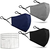 3 PCS Black Cotton Adjustable Face Masks 3-Layers with Filter 3-Layer Breathable Anti-dust Mouth Face Mask Protect Cover...