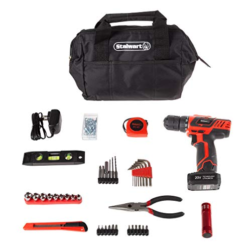 Stalwart 20V Cordless Drill with Rechargeable Lithium Ion Battery & 122Piece Accessory Set – Portable Power Tool with Bits, Drivers & Bag