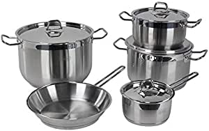 Alberto cookware set, 9 pieces, stainless steel