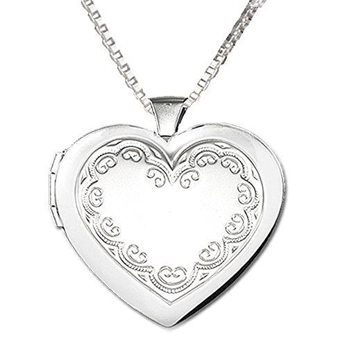 Children's Sterling Silver Heart Locket (Embellished) Necklace
