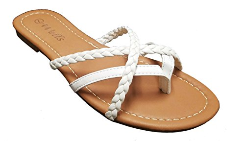Braided Strappy Sandal (Elegant Womens Fashion Braided Criss Cross Strappy White Flip Flop Flat Sandals White 8 , M US)