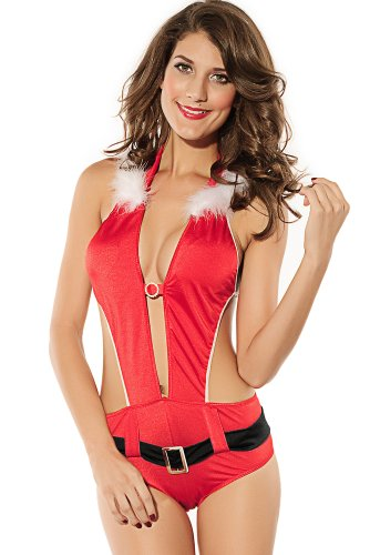 Beatifully Qearl womens Christmas Playful Santa Lingerie Costume As shown one size (Costume Ideas For Men With Beards)