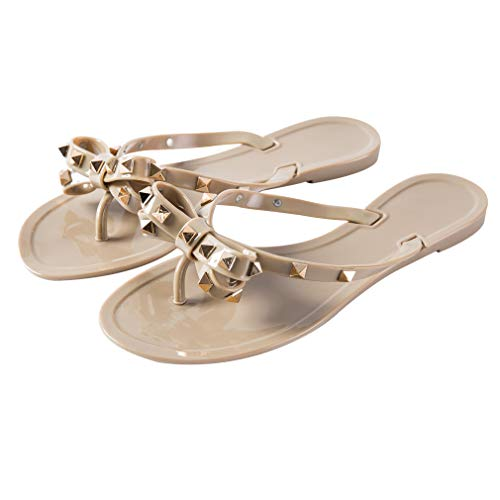 LuoBote Women Stud Flip Flops Clear Bow Sandals Beach Flat Crystal Jelly Thong Shoes Dark Nude