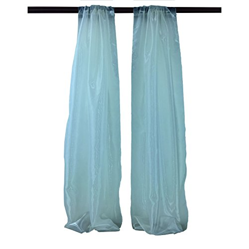 LA Linen Pack-2 Mirror Organza Backdrop, 58 by 96-Inch, - Teal Mirror
