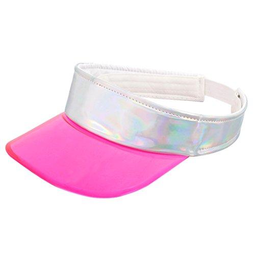 (Surkat Women Hologram Transparent Wide Brim Hat Anti-UV Elasticband Visors(Rose Red))