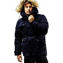 Fuerza Mens Winter Down Wellon Raccoon Fur Hooded Parka Jacket Coat
