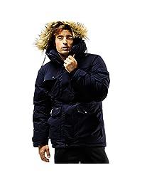 Fuerza Mens Winter Down Wellon Raccoon Fur Hooded Parka Jacket Coat