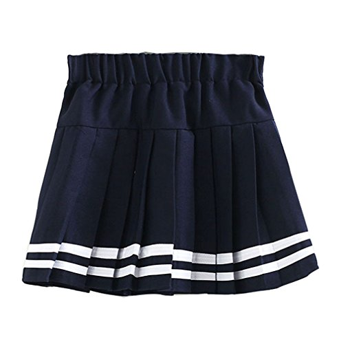 Beautifulfashionlife Girl's Double Layer Elasticated Pleat Skirt (Blue White (Stripe Sailor Skirt)