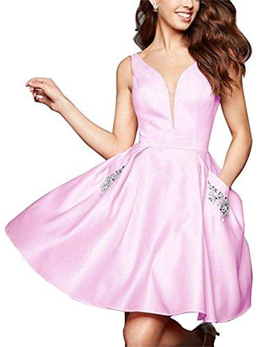 Satin Homecoming with Short V Women's Pockets DMDRS Dress Pink Neck BUxRAnq