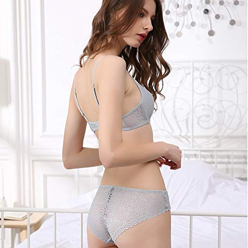 SODIAL Lace Lingerie Simple Comfortable Thin Cotton Cup Underwear Bra t  ction Gathered Bralette Triple-Cornered Cup Bras- Grey 85C at Amazon  Women s ... 4683f28bf