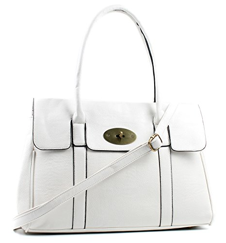 Large Aossta White Faux Aossta Turnlock Leather Faux Shoulder Bag Handbag rvwq4vIUH