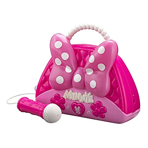 Minnie Mouse Voice Change Boombox With Microphone! Sing Along To Built In Music Or Connect Your Own Device! Minnie Bowtique Voice Change MP3 Boombox for Girls Who Love To - Sing Along Microphone