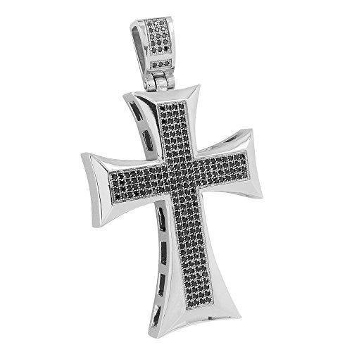 Black Lab Diamond Cross Pendant Charm 14k White Gold Over Stainless Steel Unique