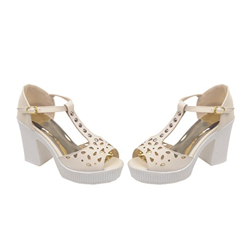 YE Damen T-spangen Chunky Heel Plateau Sandalen mit 10 cm Absatz Cut Out Peep Toe High Heel Schuhe Beige