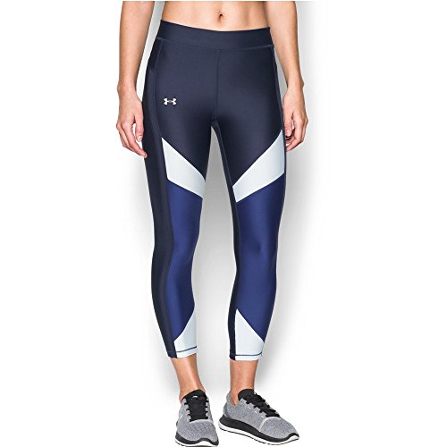 Under Armour Women's HeatGear Color Blocked Ankle Crop, Midnight Navy /Metallic Silver, Small by Under Armour (Image #1)