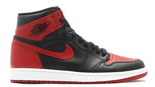 Nike Mens Air Jordan 1 Retro High OG ''2016 Banned'' Black/Varsity Red-White Leather Size 13 by NIKE