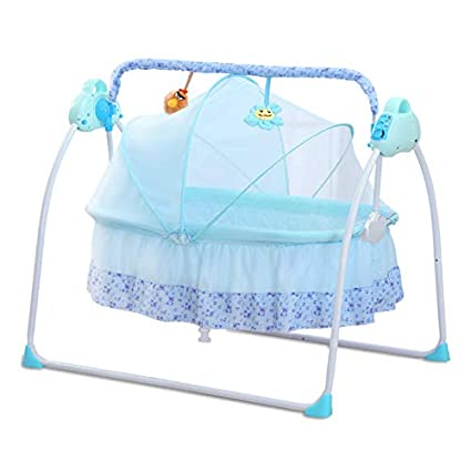 CBBAY Electric Cradle for Baby , Automatic Baby Basket Electric Rocking Multi-Function Baby Swing Cradle Bed with Music (Blue)
