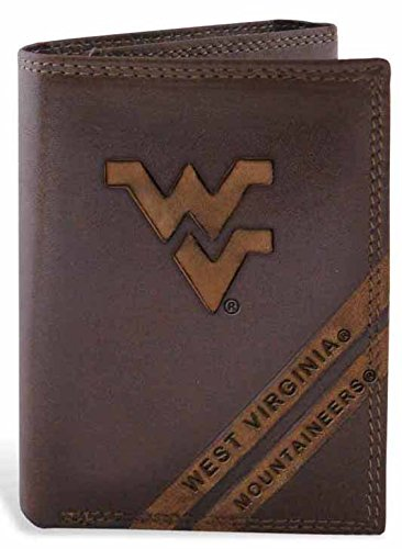 ZeppelinProducts WVU-IWD2-BRW West Virginia Trifold Debossed Leather Wallet