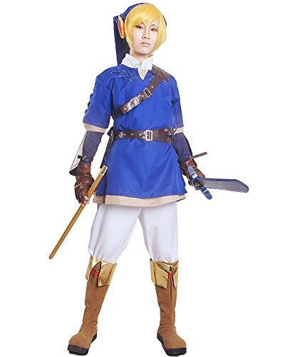Miccostumes Men's The Legend of Zelda Link Cosplay Costume (Large, Blue and White)