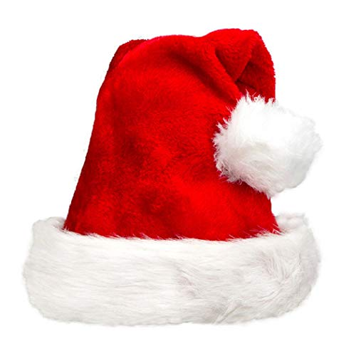 Santa Hat for Adults Plush Christmas Caps Comfort Liner Costume Headdress Party Decoration, Luxe Red Velvet for Xmas Glamour and Ambience ()