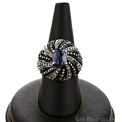 Victorian Estate Ring, 3.55 cts Tanzanite with 1 cts of Diamond as Accent Stone (DR-12162) ()