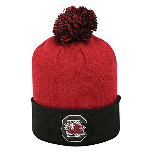 South Carolina Gamecocks Pom Cuffed Knit Two Tone Beanie Stocking Hat Cap 048208 ()