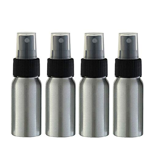 Furnido 1 oz Aluminium Essential Oil Spray Bottle Refillable Perfume Fine Mist Atomiser Empty Beauty Metal Spray Bottles Cosmetic Packaging Container travel subpackage Bottles 4-Pack (Black Caps)