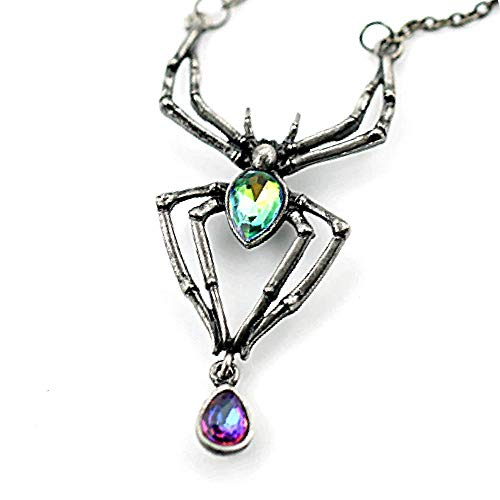 - Soul Statement Halloween Jewelry for Women: Gothic Spider Charm Necklace Rhinestone Black Widow (Spider Necklace)