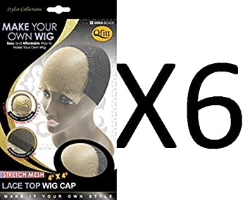 Amazon.com : [VALUE PACK OF 6] Qfit Make Your Own Wig Stretch Mesh 4X4 Lace Top Wig Cap #5063 : Beauty