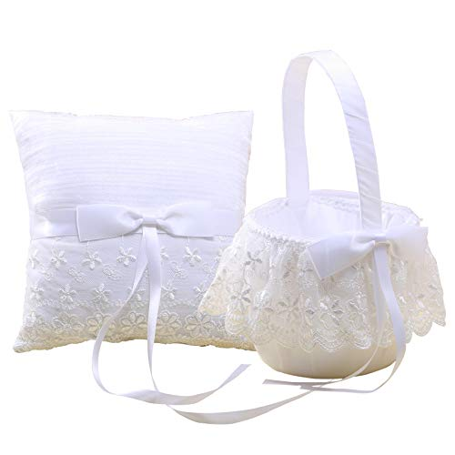 KateMelon Vintage Lace and Organza Ring Bearer Pillow and Wedding Flower Girl Basket Set, White
