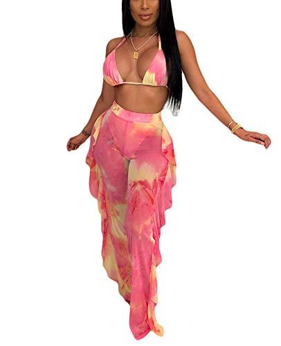 Women Sexy Sheer Mesh 2 Piece Outfits Swimsuit Ruffle Long Pants Jumpsuit Set Bikini Bottom Cover up