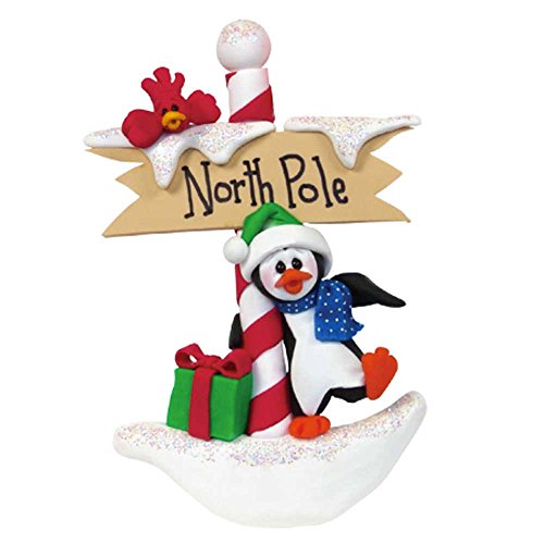 Personalized Petey at The North Pole Ornament for Tree 2018 - Happy Playful Penguin Hug Candy Cane Sign Cardinal with Present - Glitter Holiday Baby Tradition Grand-Kid Toddler - Free Customization