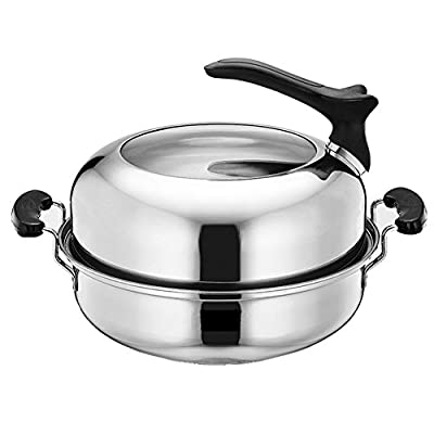 Nizzco Stainless Steel Stockpot Saucepot with Lid?Steamer Pot Set
